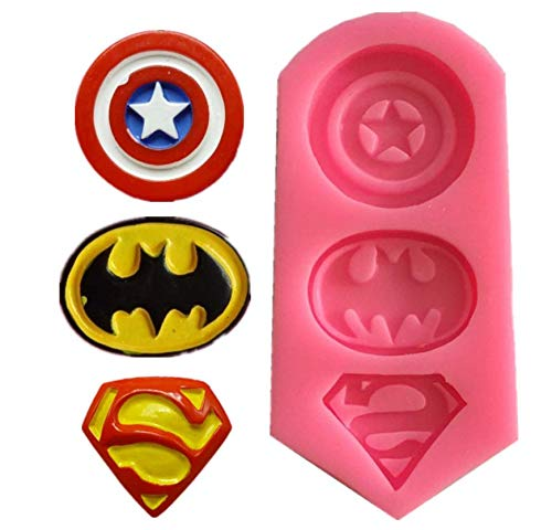 Astra Gourmet 3D Silicone Molds in Superman Logo,Captain America Batman Superman Mold for Sugarcraft, Fondant, Chocolate, Gum Paste, Marzipan, Craft Clays, Cake or Cupcake Decorating