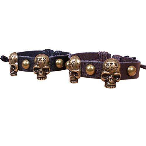 [Veenajo Skull and Rivet Black Brown PU Leather Bracelet for Men and Women Gothic Vintage Wristband Wrap Bracelet] (Dance Studio Costumes Companies)
