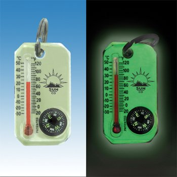 Zipperpull Compass /& Thermometer Easy-to-Read Outdoor Thermometer and Compass 802L Sun Company LumaGage