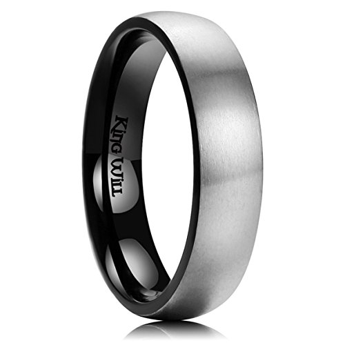 5mm Titanium Band Ring - King Will Basic 5mm Titanium Ring Brushed Black Plated Comfort Fit Wedding Band for Men Women 9