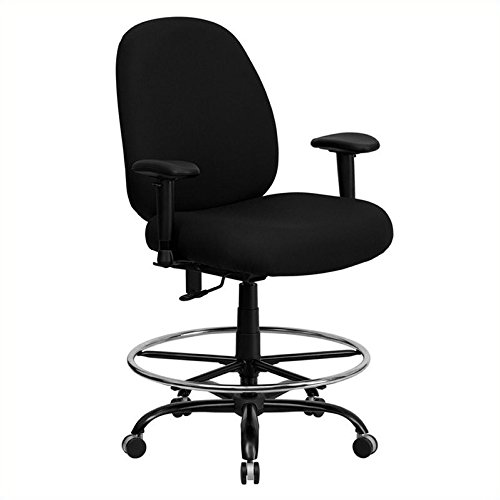 Flash Furniture HERCULES Series Big & Tall 400 lb. Rated Black Fabric Drafting Chair with Adjustable (Extra Wide Bariatric Chair)