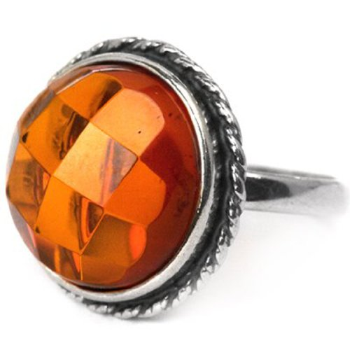 Baltic Amber Sterling Silver Round Faceted Ring 15x15mm Cabochon