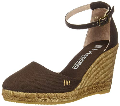 Estartit Closed Made Spain Espadrilles Ankle VISCATA 3 Toe Strap inch with Elegant Marron in Heel Canvas Comfort FOWxYqd