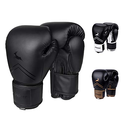 Trideer Pro Grade Boxing Gloves, Kickboxing Bagwork Gel Sparring Training Gloves, Muay Thai Style Punching Bag Mitts, Fight Gloves Men & Women (All Black, 14oz)