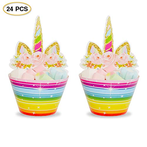 24Pcs Unicorn Cupcake Toppers and Wrappers Party Cake Decorations with Glittery Unicorn Horn and Ears for Birthday Party Baby Shower Party Wedding and Unicorn Themed Party (Rainbow) ()