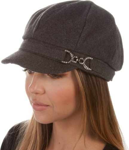 Sakkas 305BC Jessica Wool Newsboy Cabbie Hat with Rhinestone Buckle - Charcoal - One Size