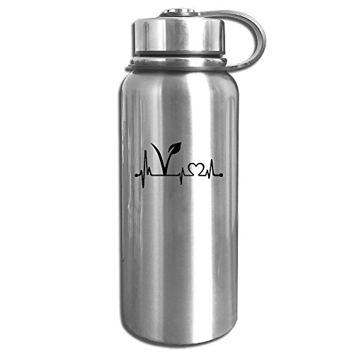 Vegetarian Heartbeat Stainless Steel Outdoor Sports Water Bottle Vacuum Insulated Kettle (Animated Heart Beat)