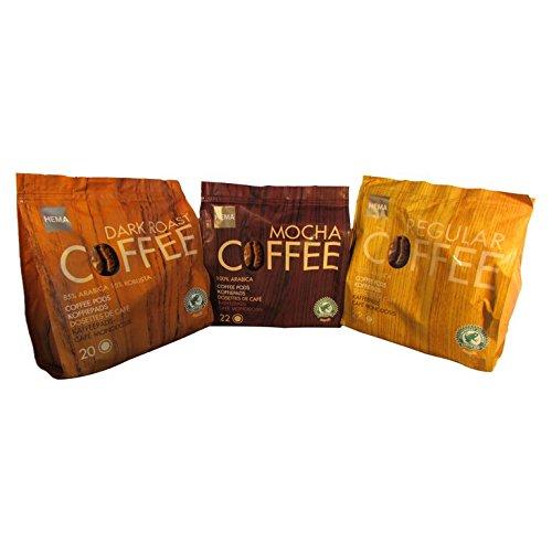 Pod Bundle - 60 Hema Mocha Coffee Pads/Pods -3 Pack Bundle for Senseo Style Machines- Dutch Favorite Coffee (3 Flavor Bundle)