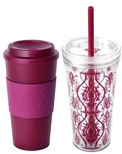 Copco 2 Piece Hot and Cold Acadia Double Wall Insulated 16 oz Travel Mug and 24 oz Iced Beverage Tumbler Set (Translucent Marsala Red/Damask Red) 16 Oz Translucent Travel Mug