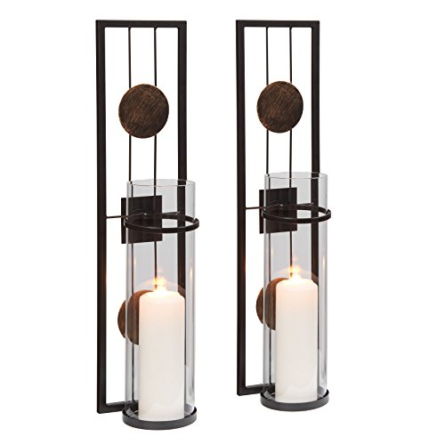 Geometric Glass Sconce - Danya B. QBA737 Modern Floating Decorative Metal Medallion Pillar Candle Sconces – Wall Mount – Easy to Hang - Set of 2