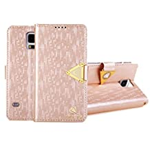 Coromose Luxury Leather Flip Wallet Cover Case For Samsung Galaxy S5 i9600 (Rose Gold)