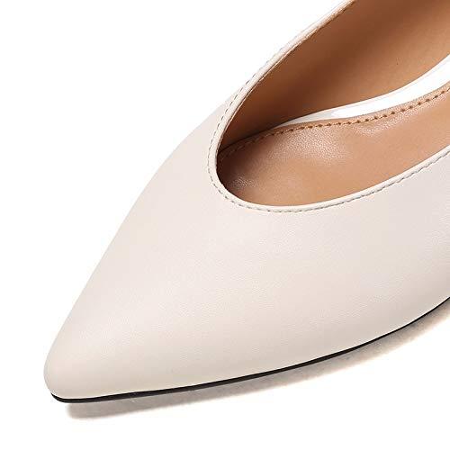 Vacia Punta Kokqsx 's White 35 Zapatos Baotou Shoes Bajo Solo en Blanco 37 Bottomed Tacon Trasera Women Flat 5XXw7pfq