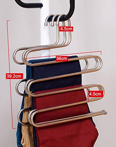 Eco life Sturdy S-Type Multi-Purpose Stainless Steel Magic Pants Hangers Closet Hangers Space Saver Storage Rack for Hanging Jeans Scarf Tie, Family Economical Storage ! (1 PCE) - bedroomdesign.us