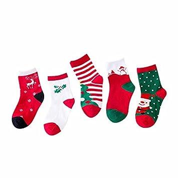 Zorux - Calcetines de Navidad para niños, algodón, calcetines para niños y niñas, diseño de dibujos animados, 5 pares Talla:1~3 Years: Amazon.es: Bebé