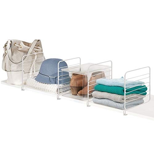 mDesign Versatile Metal Wire Closet Shelf Divider and Separator for Storage and Organization in Bedroom, Bathroom, Kitchen and Office Shelves – Easy Install, 4 Pack – White