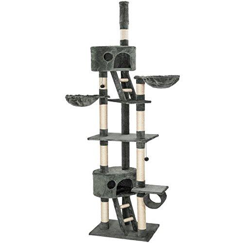 TecTake Kratzbaum Katzenbaum für Katzen – deckenhoch (höhenverstellbar von 240-260cm) – Diverse Farben –