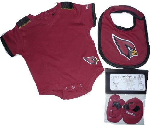 Arizona Cardinals 3pc Onesie Creeper Bib Bootie Set 6-9 Months