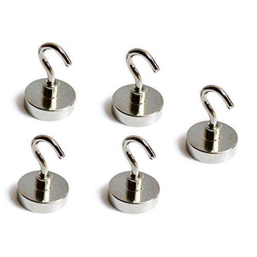 NEO Magnetics Neodymium Magnetic Hooks Stainless Steel, N50 Pack of 5, 1