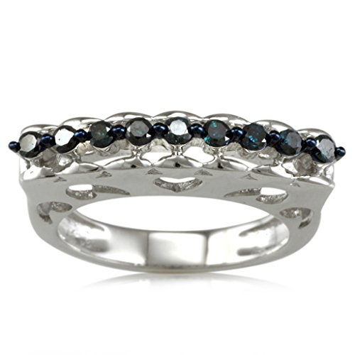 Sterling Silver 0.25ct TDW Blue Diamond Curve Top Band Ring by V3 Jewelry (Image #3)