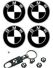 Alinall Wheel Center Caps Emblem fit for Bm W, 4 Pieces 68mm/2.68 inch Rim Hub Caps Emblem Badge + Set of 4 Tire Valve Covers Fit for Bm W 1 3 5 6 7 X Z Series (Black and White)