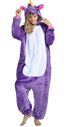 AooToo Womens Unisex Cosplay Flannel Halloween Animal Costume Pajamas(Purple, S (Height 57