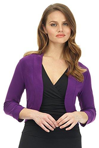 (Rekucci Women's Soft Knit Rounded Hem Stretch Bolero Shrug (Large,Grape))