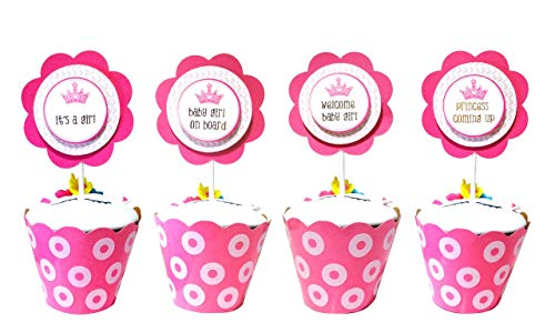 Pink and Gold Flower Baby Shower Cupcake Toppers.