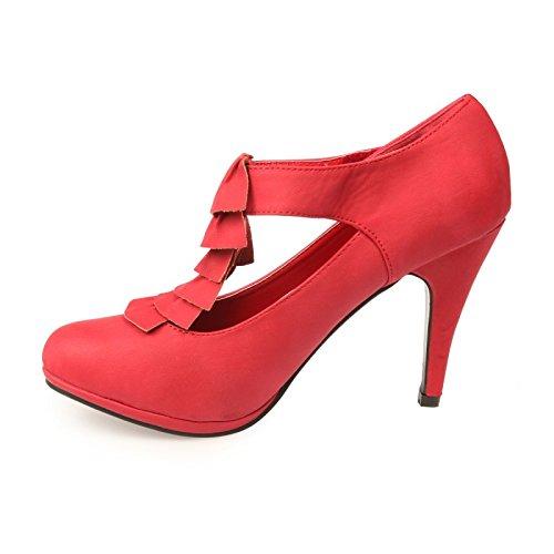 Fronces Tacón Salomé De Rojo Color Con Zapato Diseño rrCq8