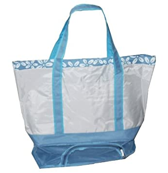 Amazon.com : Large Nylon Beach Bag w/ Mesh Storage Bottom (Light ...