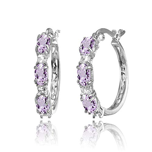 (Sterling Silver 5x3mm Oval Amethyst & Princess-cut White Topaz Filigree Hoop Earrings)