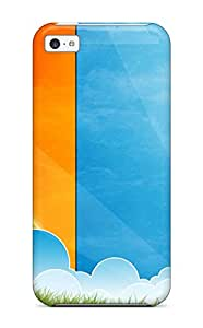 Iphone 5c Case Cover Bright Orange Blue Green Grid Case - Eco-friendly Packaging