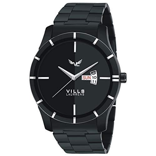 VILLS LAURRENS Analogue Men's Watch (Black Dial Black Colored Strap)