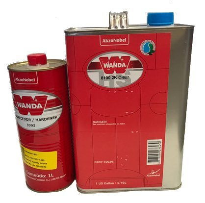 Wanda 8100 2K Polyurethane Clearcoat 500201, 1Gallon with Hardener 3093, 1Liter