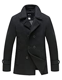 Wantdo Men's Peacoat Jacket Double Breasted Fit Lapel Warm Classic Pea Coat
