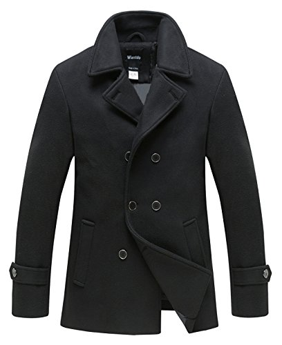 Wantdo Men's Peacoat Jacket Double Breasted Fit Lapel Warm Overcoat Black X-Large Cropped Double Breasted Peacoat