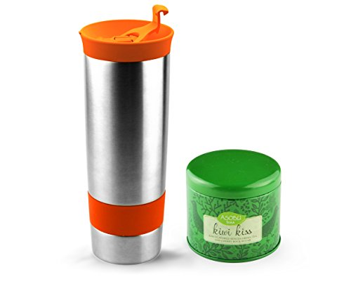 (Asobu Hot Press Bottle with Kiwi Kiss Tea, 16-Ounce, Stainless Steel/Orange)