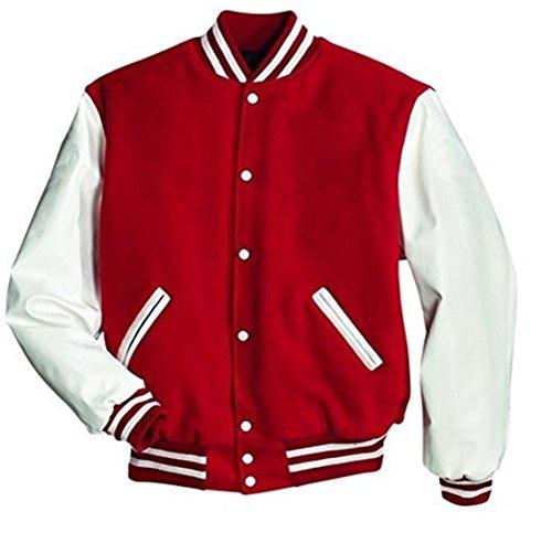 Original Windhound College Jacke rot mit weißen Echtleder Ärmel XXXL