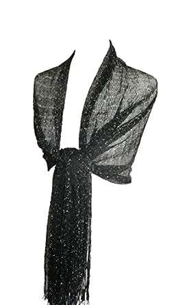 En color negro y plateado tamaño grande Pashmina Lurex bufanda chal para con borlas envoltorio