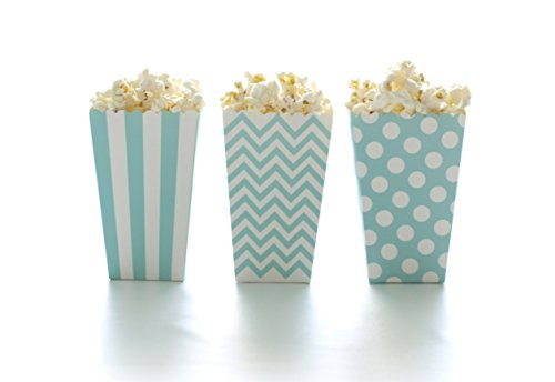 Popcorn Boxes, Aqua Blue Design Trio (36 Pack) - Polka Dot, Chevron Zig-Zag, Striped Mini Gourmet Movie Theatre Style Popcorn Tubs ()