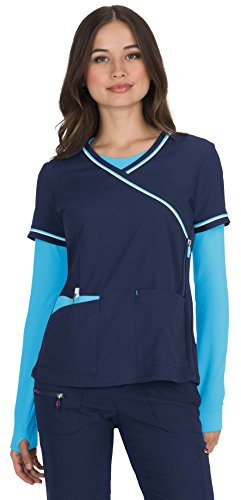 KOI Lite Women's Theory Mock Wrap Solid Scrub Top Small Navy - Mock Wrap V-neck Scrub Top