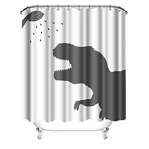 VividHome Animal Dinosaur Fabric Shower Curtain Dinosaur Silhouette Waterproof Polyester Fabric Bathroom Set with Hooks Animal Home Decor 72x72IN