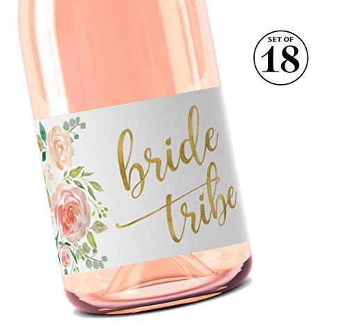 BRIDE TRIBE Mini Champagne Labels  SET of 18  Bachelorette Party Mini Wine Label, Bride Squad Wine Labels, Bridal Shower Mini Champagne Bottle Labels, BUBBLY for My Bride Tribe WATERPROOF M612-BT-18