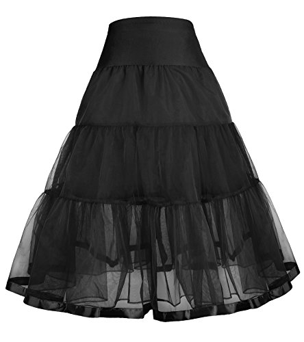 GRACE KARIN Little Girls Two Layers Voile Crinoline Tutu Petticoats Long(one Piece)/Short (one Piece)/(Black + White, 2 Pack)