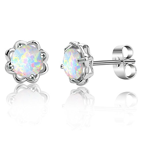 18K Gold Plated Opal Flower Stud Earrings for Women Girls Ear Jewelry (A:White (White Opal Flower)