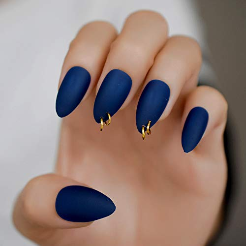 CoolNail Gold Ring Matte Dark Blue Stiletto Fake Nails Oval Almond Pointed Frosted Full Cover Punk Style Press on False Wear Nail -