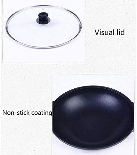 WYJBD Round Wok à fond, Double Eared Bas avec couvercle en verre Wok, Cuisinière à induction Cuisinière au gaz Universal