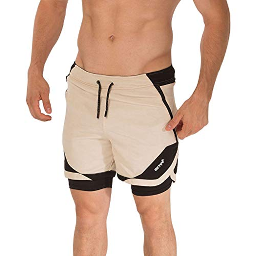 - ♞Deadness-Mens Men's Outdoor Sports Gym Running Shorts Pockets Athletic Shorts Workout Bodybuilding Training Short Beige