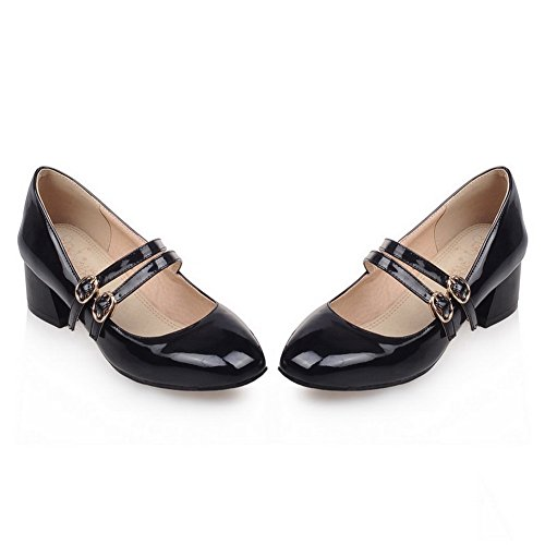 BalaMasa Womens Metal Buckles Chunky Heels Square-Toe Patent-Leather Pumps Shoes Black 2TjLorK5mK