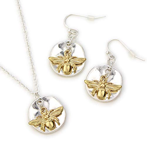 Wyo-Horse Delicate Honey Bee Necklace Earring Set - Silver