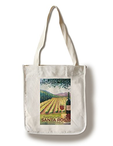 Santa Rosa, California - Sonoma County Wine Country (100% Cotton Tote Bag - Reusable, Gussets, Made in - In Shopping Santa Rosa